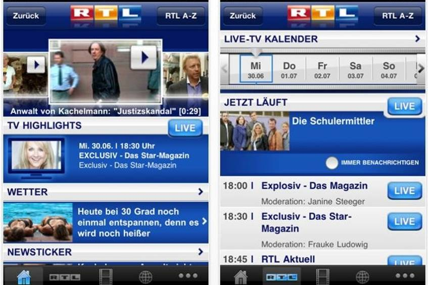 Rtl bringt iphone app mit live tv stream for Rtl spiegel tv live
