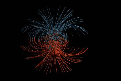 Simulation des Magnetfelds in der Erde. © NSF, Public Domain