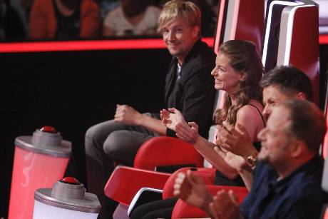 Samu Haber (v.l.), Yvonne Catterfeld, Michi Beck und Smudo bei den Blind Auditions