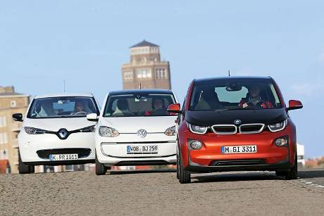 BMW i3, Renault Zoe, VW E-Up, Frontansicht