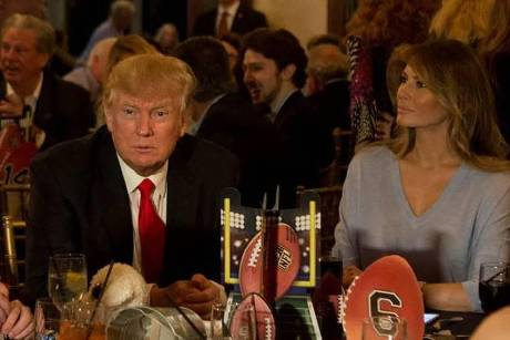 Donald Trump bei seiner Super-Bowl-Party