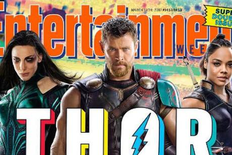 "Chris Hemsworth alias Thor mit Cate Blanchett (l.) und Tessa Thompson auf dem Cover von ""Entertainment Weekly"""