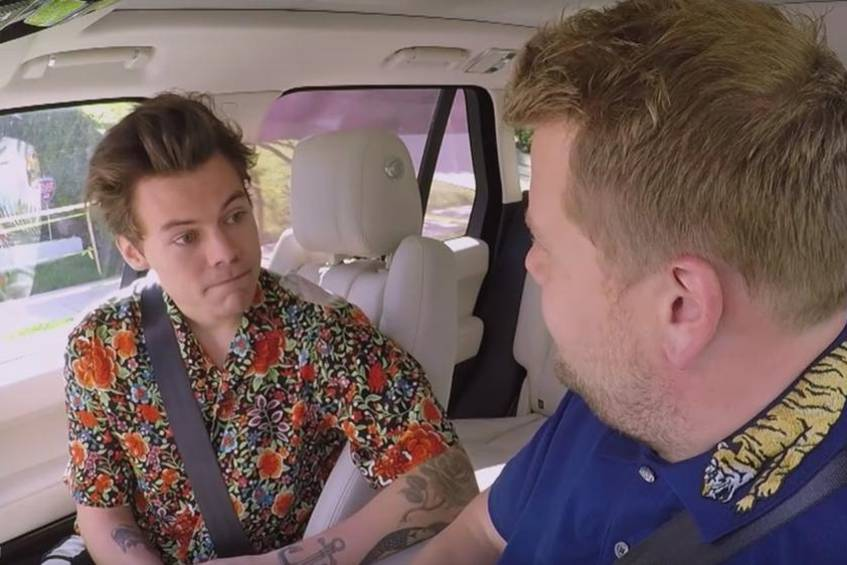 """Carpool Karaoke"" mit Harry Styles (l.) und James Corden"