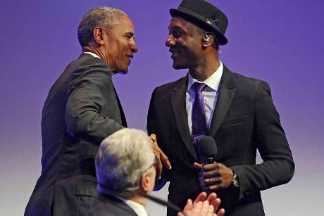 Barack Obama in Baden-Baden mit Sänger Aloe Blacc