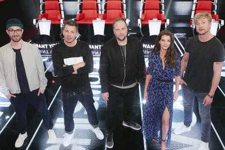 "Die Coaches von ""The Voice of Germany"": Mark Forster, Michi Beck, Smudo, Yvonne Catterfeld und Samu Haber"