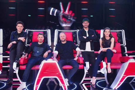"""Die neuen Coaches bei """"The Voice of Germany"""" (v.l.n.r.): Michael Patrick Kelly, Michi Beck, Smudo, Mark Forster, Yvonne Catt..."""