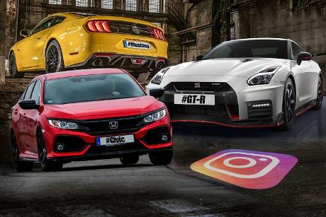 Instagram Hashtags Top 3 Mustang GT-R Civic Collage