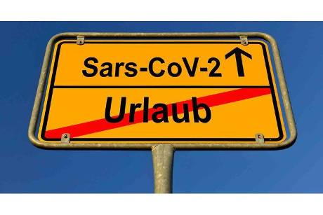 Digital Composing, symbol picture, place name sign, holiday, Coronavirus, Sars-CoV-2, Covid-19, Germany